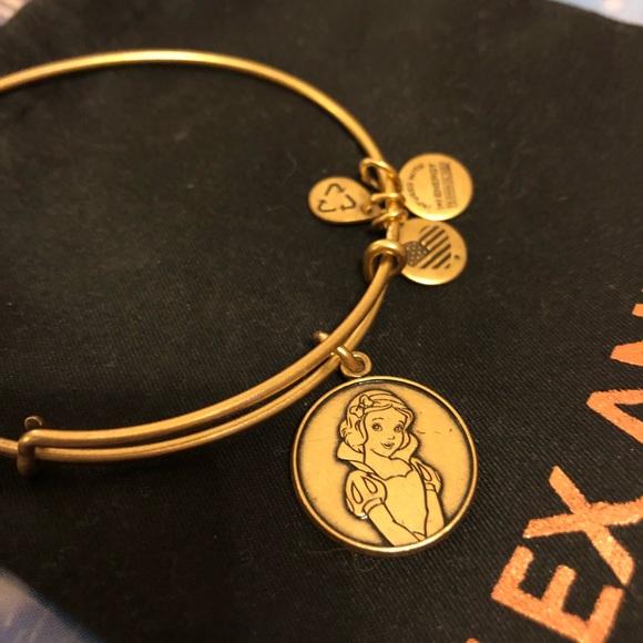Disney Snow White Gold Charm Bangle Bracelet by Alex and Ani Brand New